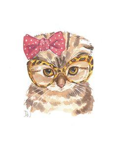 Scottish Fold Cat Watercolor Print - 5x7 Print, Cat Illustration, Cute Kitten, Vintage Glasses