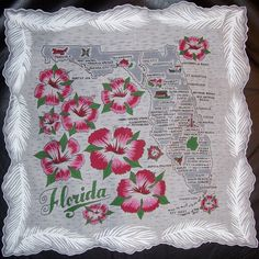 Florida state map + red/pink hibiscus flowers [handkerchief / scarf]