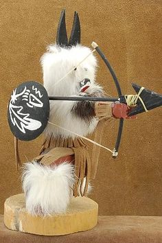The Wolf Kachina is a master hunter using his great awareness and knowledge of the land to find and capture game. The Wolf is highly respected and makes appeals for healthy game and good hunting.