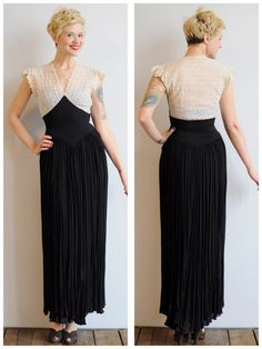 ~1940s breathtaking floor length gown  ~Black and white  ~White eyelet bodice  ~Light blue bust ~Black chiffon layered skirt  ~Side metal zipper