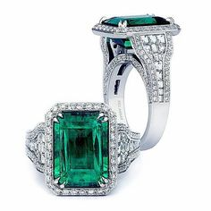 This five carat green emerald ring is the ultimate expression of love, framed with small round diamonds. The shank is set with one of a kind blaze cut diamond by Bez Ambar Green Emerald Ring, Emerald Jewelry, High Jewelry, Diamond Jewelry, Emerald Cut, Emerald Rings, Emerald Necklace, Jewelry Stores, Diamond Earrings