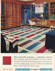 "1961 KENTILE FLOORS vintage magazine advertisement ""Most comfortable underfoot"" ~ Most comfortable underfoot ... and built to take it! That's cushiony, quiet Kentile Rubber Tile. ~ Size: The dimensions of the full-page advertisement are approximately 9.75 inches x 12.5 inches (24.75 cm x 31.75 cm). Condition: This original vintage full-page advertisement is in Excellent Condition unless otherwise noted."