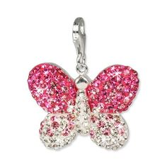 SilberDream Glitter Charm Swarowski Elements butterfly pink ICE, 925 Sterling Silver Charms Pendant with Lobster Clasp for Charms Bracelet, Necklace or Earring GSC003 - SilberDream Glitter Charm Swarowski Elements butterfly pink ICE, 925 Sterling Sil