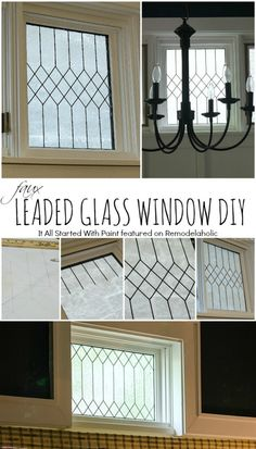 How to DIY Faux Leaded Glass Window   It All Started With Paint on Remodelaholic.com #AllThingsWindows #stainedglass