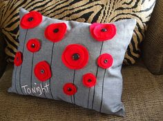 Minus the 'tonight' I love this pillow and only pinned it so I could remember the beautiful simple poppies. I think this would be a fun thing to do on an painting canvas for some 3D textured art.