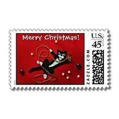 Playful Tuxedo Cat on Red Felt Christmas Postage: Matching postage for invitations and envelopes!    $22.45/per sheet of 20