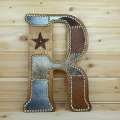 Cowhide Wall Letter R - Western Home Decor, Wall Hanging, Cowboy Nursery, Monogram, Made to Order - Cowhide Letter R Wall Decor by LizzyandMe - Western Style, Old West, Country Decor, Rustic Decor, Cowboy Nursery, Western Nursery, Cowboy Bedroom, Cowgirl Room, Western Bedding