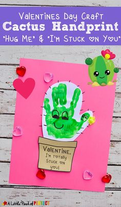 "Cactus handprint valentine's day craft and free template ""hug me and . - Cactus handprint valentine's day craft and free template ""hug me and …, - Valentine's Day Crafts For Kids, Valentine Crafts For Kids, Daycare Crafts, Classroom Crafts, Preschool Crafts, Valentines Sayings For Kids, Valentines Bricolage, Kinder Valentines, Valentines Day Activities"