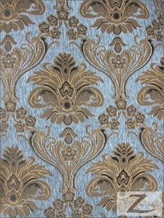 """DAMASK TAPESTRY CHENILLE FABRIC - SKY BLUE/ GOLD - 60"""" WIDTH - SOLD BTY Big Z Fabric"""