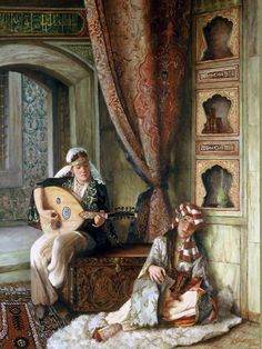 by Turkish artist Kamil Aslanger. Relaxing with the sound of music. No ear-splitting speakers, no DVDs, just soft live music. That's how uncomplicated life was in the yester years. Classic Paintings, Beautiful Paintings, Arabian Art, Academic Art, Turkish Art, Historical Art, Foto Art, Arabian Nights, Art Plastique