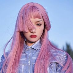 Hairstyles With Bangs, Straight Hairstyles, Cool Hairstyles, Pelo Multicolor, Kreative Portraits, Pink Wig, Hair Reference, Aesthetic Hair, Grunge Hair