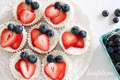 Red, White and Blueberry Cheesecake Yogurt Cupcakes | Skinnytaste