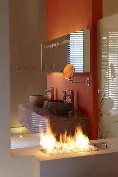 stein waschenbecken feuer oberfläche orange wand farbe
