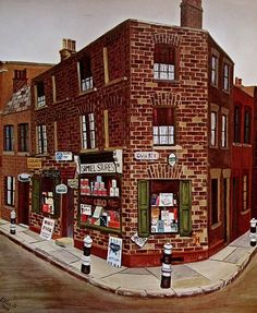 Painting by Artist John Allin, East End of London | Old stores & brickwork terrace |