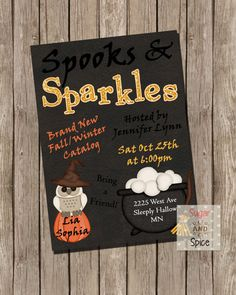 Spooks and Sparkles Invite Halloween Party Witch Owl by sugspc, $8.00