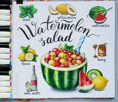 Girly Drawings, Colorful Drawings, Art Drawings Sketches, Cartoon Drawings, Bullet Journal Banner, Bullet Journal Mood, Watermelon Mint Salad, Lemon Drawing, Lemon Curd Recipe