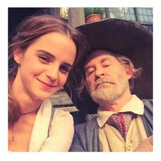 Emma and her on-screen dad! The beauty and the beast.