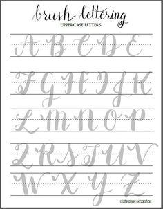 brush lettering uppercase letters worksheet by destination decoration brush lettering worksheet calligraphy worksheet hand