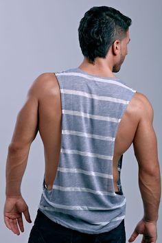 Lasc® Striped Cowel Mens Muscle Shirt Tank Top | UnderGear