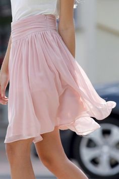 Floaty chiffon skirt with ruching at waist and side zip