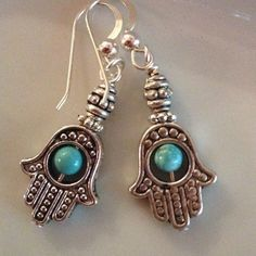 Hamsa Hand Earring Antique Silver Hamsa Hand With Turquoise Beads. Sterling Silver Ear Wires with Sterling Ball Detail. 1 1/2  inch Jewelry