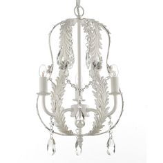 Gallery Indoor 3-light White Wrought Iron and Crystal Chandelier Hardwire and Plug In - Overstock™ Shopping - Great Deals on Gallery Chandeliers & Pendants