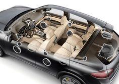 Porsche Cayenne Burmester Audio System. 16 speakers, 1,000 watts.