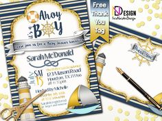 Nautical Baby Shower Invitation Boy FREE Nautical Thank You card Boy, Anchor Baby Shower Invitation Boy, Navy Baby Shower Invitation Boy by IrisNaiderDesign on Etsy Navy Baby Showers, Anchor Baby Showers, Personalized Invitations, Personalized Items, Us Holidays, Nautical Baby, Baby Shower Invitations For Boys, Thank You Tags, Messages