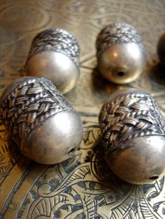 Four Moroccan Berber tarnished silver beads for Tribal fusion belly dance