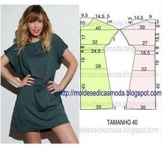 O molde de vestido encontra-se no tamanho 40. Faça o molde deste vestido, com base nas medidas da imagem. O grau de dificuldade de costura é baixo. Faça o