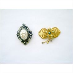 2 BIG FAB VTG. BROOCHES/PENDANTS: 1 FAUX PEARLS, 1 MOD WITH AB RHINESTONES on eBid United States