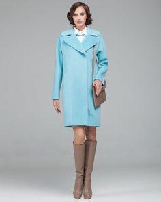 Пальто кокон аквамариновое. Модный дом Ekaterina Smolina