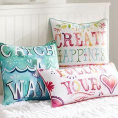 Cute, inspirational pillows for a teen girl's room