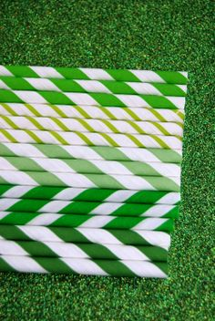 Assorted Green Paper Straws and PDF Printable Party Flags