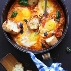 Breakfast Recipes EGGS IN PURGATORY is a flavorful Italian version of traditional SHAKSHUKA. This easy breakfast recipe uses basic ingredients. It's over-the-top scrumptious! European Breakfast, Italian Breakfast, Mediterranean Breakfast, Best Egg Recipes, Best Breakfast Recipes, Easy Egg Breakfast, Eggs In Purgatory, Over Easy Eggs, Sandwiches