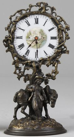 Novelty Clock; Candle Night Light, Brass Figures, Milk Glass Dial, 12 inch.  Year: 1801 - 1900