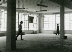 """Babette Mangolte MOTION STUDY I: The Camera: Je, La Camera: I"""" (1976-77)  Loft on Church Street, from left to right, Power Boothe, Stuart Sherman  Vintage print from 1977  Broadway 1602"""