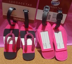 Pink Flip Flop Luggage Tag accented with Pink Glitter Luggage