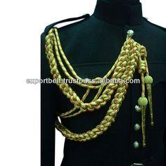 Military Uniform Dress cord   Aiguillettes & Cords   Shoulder Cords   Gold Aiguillette $10~$30 Marines Uniform, Army Uniform, Military Decorations, Military Dresses, Uniform Dress, Formal Wear, Steampunk, Crochet Necklace, Detail