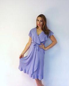 $17 Vintage Lilac Purple Flirty Semi Sheer Romantic Summer Wrap Sun Dress Mini Party Bridesmaid Dress Size Medium Chiffon 1920s Style Gown