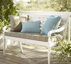 $249.99 bench from Pottery Barn - on sale - perhaps a good bargain and very pretty!  But do i want cushions? Salem Bench   Pottery Barn