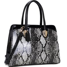 Dasein Faux Patent Leather Shoulder Bag with Snakeskin Detail -Black