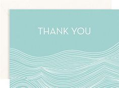 "Pool Waves 4 bar Thank You Notes: Set of 10  Our waves design printed with a pool background creates a fresh and modern thank you note. A great complement to our Waves wedding invitation design.    10 - 4 Bar folded cards 3 1/2"" x 4 7/8""  10 - 4 Bar superfine white envelopes 3 5/8"" x 5 1/8""  Item 4661007601  Price  $11.50"