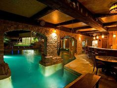 Indoor Swimming Pool Ideas - You want to build a Indoor swimming pool? Here are some Indoor Swimming Pool designs and ideas for you. Indoor Swimming Pools, Swimming Pool Designs, Lap Swimming, Indoor Outdoor Pools, Lap Pools, Pool Spa, Moderne Pools, Dream Pools, Cool Pools