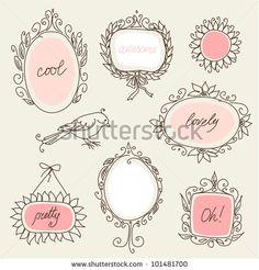 Gorgeous doodle frames - stock vector