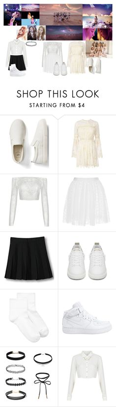 """""""WJSN - Secret MV"""" by sade-horan ❤ liked on Polyvore featuring Gap, Zimmermann, Giamba, WithChic, Golden Goose, Hue, NIKE and Topshop"""