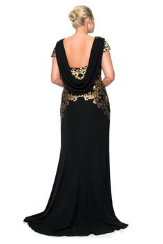Crepe Draped Open Back Gown with Metallic Paillette Detail - PLUS SIZE | Tadashi Shoji LOVE THIS BACK! Just like the dress Deborah Kerr used in An Affair to Remember. My fave dress of all time!