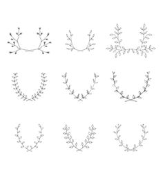 Hand-drawn branches graphic design elements set vector. Laurel frame by Anastasiaartdes on VectorStock®