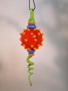 Lampwork handmade glass Christmas ornament whimsical by RicoDelux, $35.00