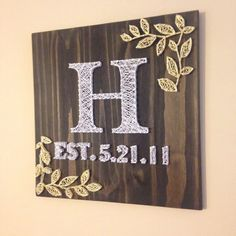 "Square 18""x18"" Leaf Monogram String Art, Made to Order"